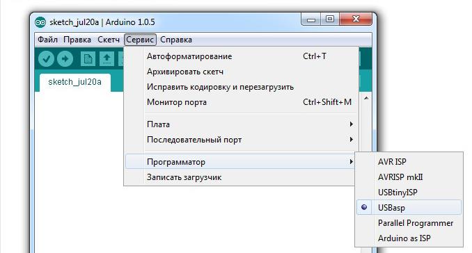 Загрузчик Ардуино и прошивка через Arduino IDE и программатор