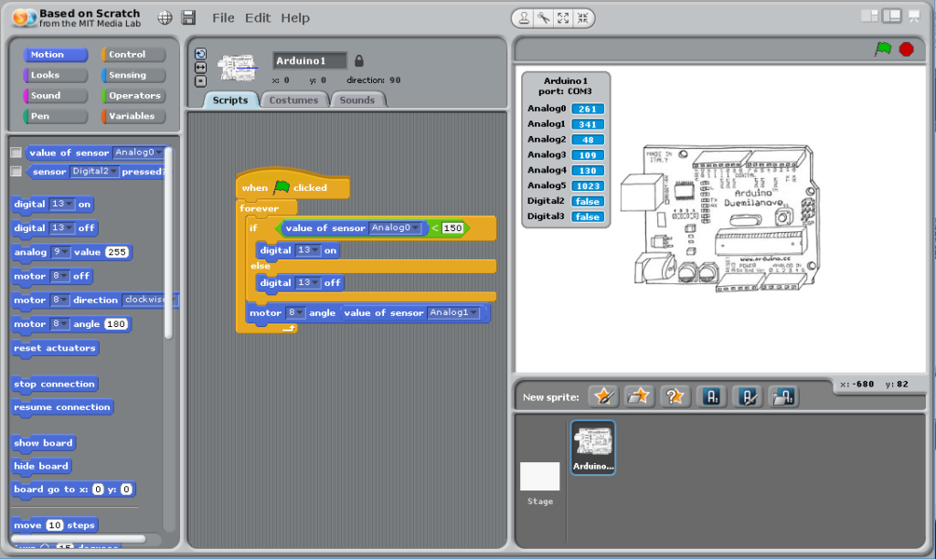 Экран scratch for arduino