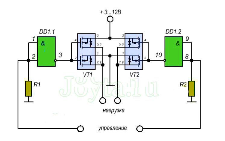 Н-мост и схема работы для управления двигателями