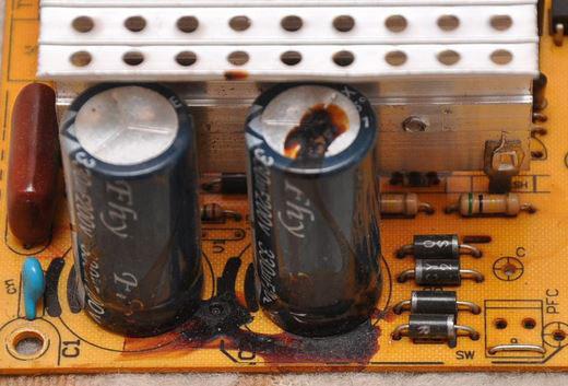 В данном случае присутствует протечка электролита
